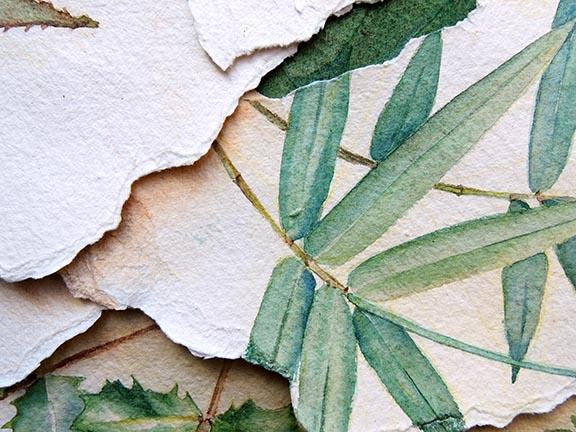 Watercolor collage titled August Days by Barbara Stout, detail