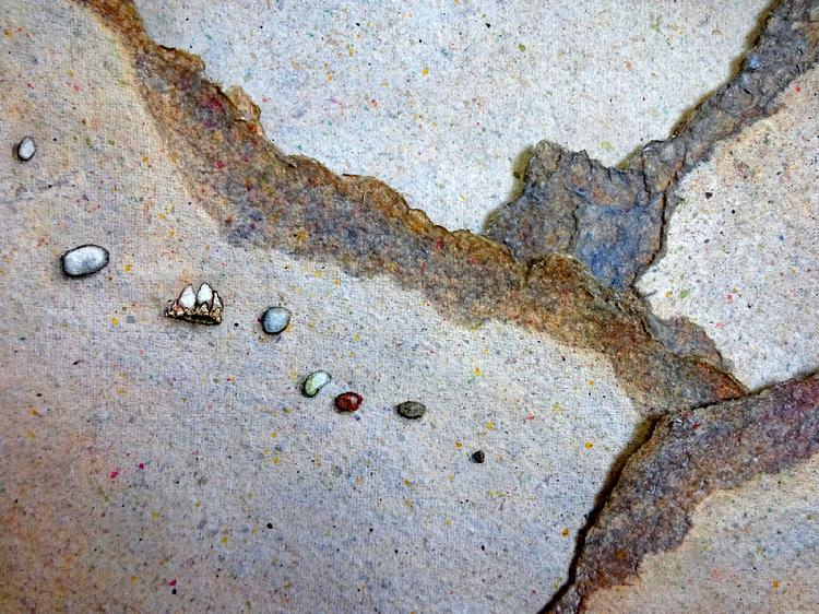 Watercolor collage detail by Barbara Stout titled West County Beach Meditation